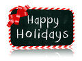 Happy holidays blackboard banner with ribbon hand written chalk text on red Stock Photos