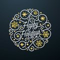 Happy Holidays calligraphy lettering and golden snowflake star pattern decoration on white background for Xmas greeting card desig Royalty Free Stock Photo