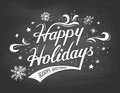 Happy Holidays On Chalkboard B...
