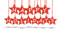 Happy holidays concept with red stars on white background Royalty Free Stock Photo