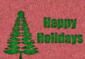 Happy holidays in glitter with retro christmas tree background Stock Photo