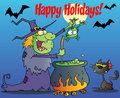 Happy holidays greeting over a green witch