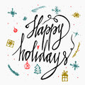 Happy Holidays greetings hand-lettering card isolated on white background. Made in . Holidays lettering for invitation and g