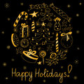 Happy Holidays! Hand Drawn Gol...
