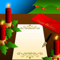 Happy Holidays Letter, Christmas Tree, Candle Royalty Free Stock Images