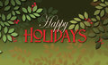 Happy Holidays message with simple leaves and berries