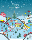 Happy Holidays Seasonal Greeting Card. Winter hills city. Vector Illustration