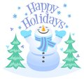 Happy holidays snowman cute illustration of a with the heading Royalty Free Stock Photo
