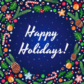 Happy Holidays Vector Blue Card
