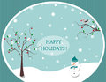 Happy holidays winter greeting postcard illustration Stock Photography