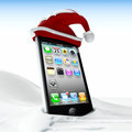 Happy holidays on your mobile d illustrated cap of santa and snow to wish phone Royalty Free Stock Photos