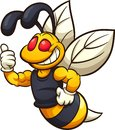 Happy hornet, wasp, or bee mascot Royalty Free Stock Photo