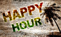 Happy hour beach bar a illustration with colourful text and a background Stock Photos