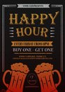 Happy hour. Beautiful greeting card poster, calligraphy golden text with beer mug and lettering.
