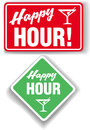 Happy hour cocktail bar signs for cocktails beer drinks Stock Photos