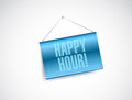 Happy hour hanging banner illustration design over a white background Royalty Free Stock Photos