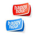 Happy hour labels Royalty Free Stock Photo