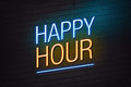Happy hour neon sign blue and orange with text on wall Royalty Free Stock Photos