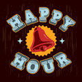 Happy Hour Poster Sign Label Design With A Ringing Bell Illus