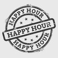 Happy hour rubber stamp isolated on white.