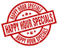 happy hour specials round red stamp Royalty Free Stock Photo
