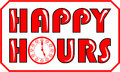 Happy hours banner in red color inscription with clock face Stock Image