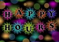 Happy hours billboard with colorful firework and bokeh lights, vector eps10. Trailer for restaurant, bar or discotheque Royalty Free Stock Photo