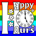 Happy hours billboard on a rainbow background with inscription and the clock face Royalty Free Stock Images