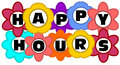 Happy hours colorfull inscription in multicolored flowers Stock Image