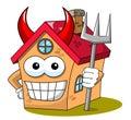 Happy house cartoon funny character devil trident isolated Royalty Free Stock Photo