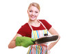 Happy housewife or chef in kitchen apron with skillet frying pan colorful isolated studio shot Royalty Free Stock Photo