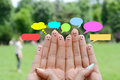 Happy human fingers suggesting feedback and communication concept Royalty Free Stock Photo