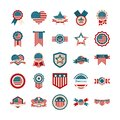 Happy independence day, american flag national freedom patriotism icons set flat style Royalty Free Stock Photo
