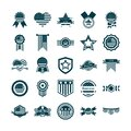 Happy independence day, american flag national freedom patriotism icons set silhouette style Royalty Free Stock Photo