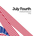 Happy Independence Day. Blue and Red color Curly twisted Flag of USA set. July Fourth United States federal holiday 3d Royalty Free Stock Photo