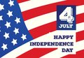 Happy independence day card on american flag background. Royalty Free Stock Photo
