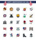 Happy Independence Day USA Pack of 25 Creative Flat Filled Lines of decoration; american; justice; chips; food Royalty Free Stock Photo