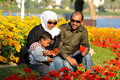Happy Indian family with two years old son in park Stock Photography