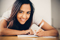 Happy indian woman student education writing studying young Royalty Free Stock Images