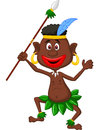 Happy indigenous people cartoon dancing illustration of Royalty Free Stock Photo