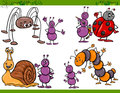 Happy insects set cartoon illustration Royalty Free Stock Photo