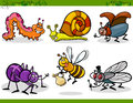 Happy insects set cartoon illustration of or bugs like bee beetle spider fly and caterpillar Royalty Free Stock Photography