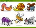 Happy insects set cartoon illustration Royalty Free Stock Photo