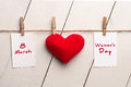 Happy International Womens Day, March 8, heart and text