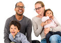 Happy interracial family isolated on white Royalty Free Stock Photo