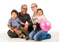 Happy interracial family isolated on white Royalty Free Stock Photo