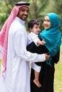 Happy islam family looking back Stock Photo