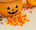 Happy Jack O Lantern in Halloween Table Setting Stock Photography