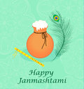 Happy janmashtami, Indian feast of the birth of Krishna. Greeting card janmashtami Royalty Free Stock Photo
