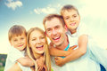 Happy joyful young family Royalty Free Stock Photo